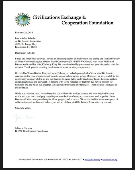 thank you letter to for understanding better understanding for a better world conference letter