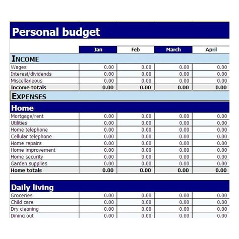 template for personal budget best photos of personal budget template excel 2010