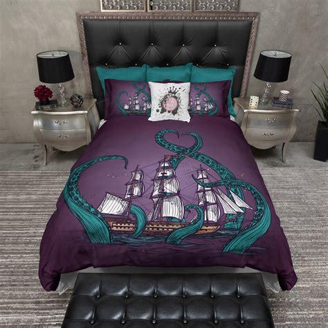 octopus bedding teal tentacle purple octopus kraken ship bedding ink and