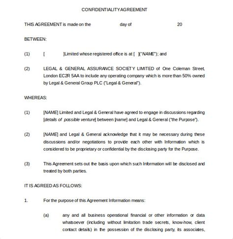 sle subordination agreement confidentiality agreements templates 28 images