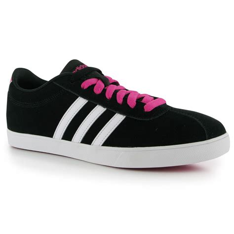 Set Adidas Fd adidas courtset suede shoes trainers womens black wht pink sneakers ebay