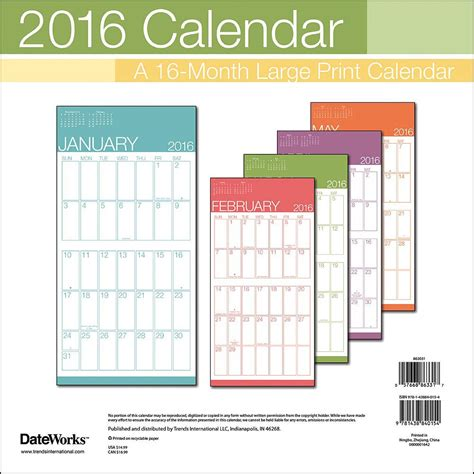 2016 monthly wall planner printable large print 2016 wall calendar 9781438840154