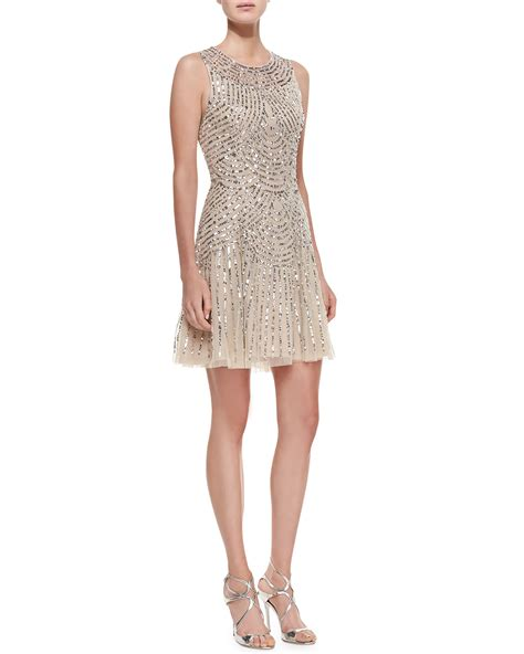 gold beaded dress aidan mattox sequined beaded deco cocktail dress in gold