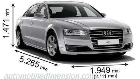 Kofferraumvolumen Audi A8 by Abmessungen Der Audi Autos Mit L 228 Nge Breite Und H 246 He