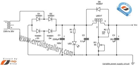 variable dc power supply schematic using lm317 voltage
