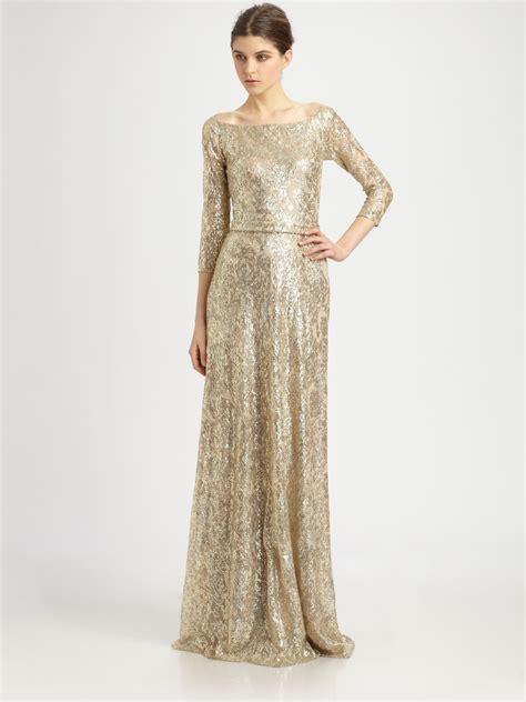 Wedding Gown Gold Premium Series david meister metallic lace gown in metallic lyst