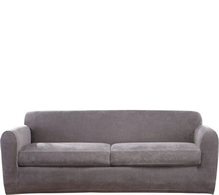 stretch sofa slipcover 2 sure fit stretch chenille 2 cushion sofa slipcover qvc