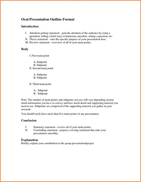 Outline Exle For Presentation by Presentation Outline Template Sales Report Template