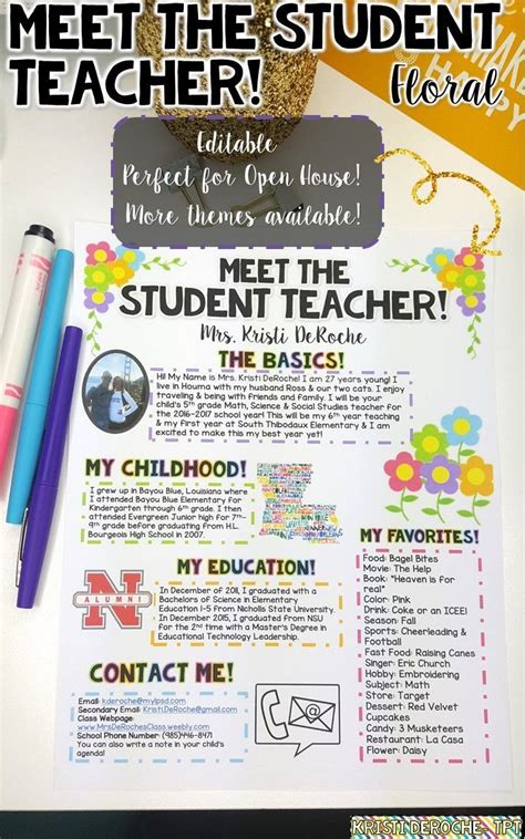 Meet The Student Teacher Editable Floral Design Teacher Newsletter And Open House Meet The Newsletter Templates