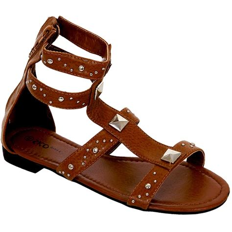 Kiddo Flat 592 By C Boutique gladiator flat shoes s small heel studded