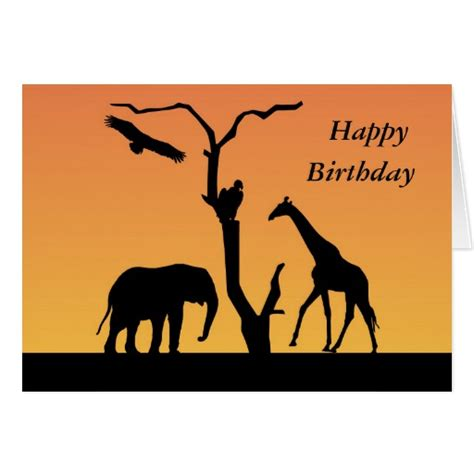 printable birthday cards giraffe giraffe sunset silhouette happy birthday card zazzle