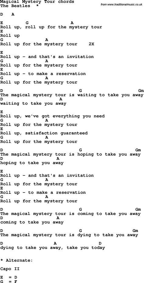 mystery lyrics song lyrics with guitar chords for magical mystery tour