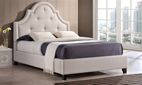 arched platform bed martha twill fabric tufted platform bed with arched