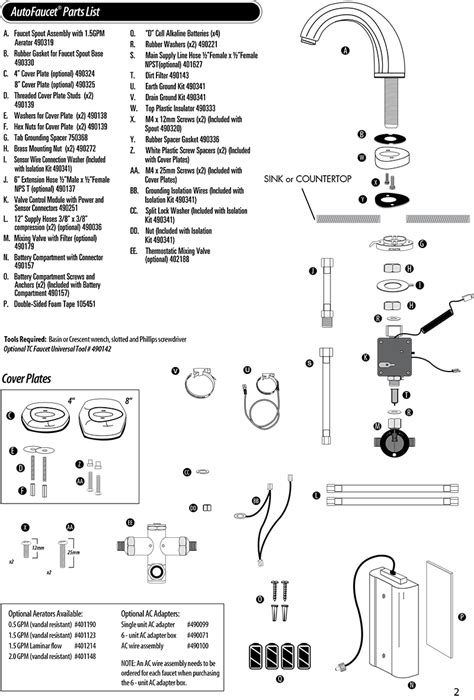 Technical Concepts Faucets by Tc Autofaucet Sst Parts For Verona Autofaucets Technical