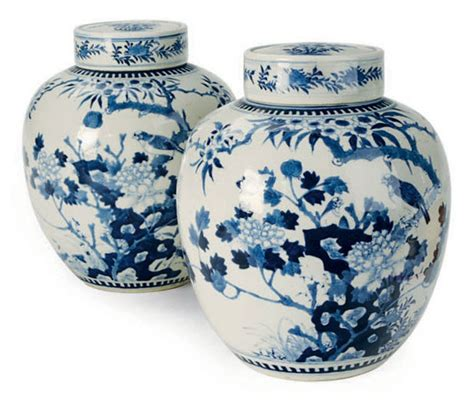 blue and white ginger jars a pair of chinese kangxi style blue and white porcelain