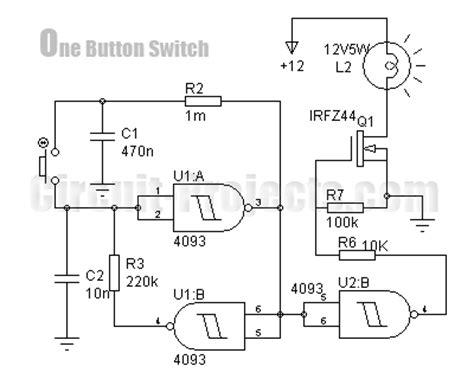 Ic Power Cmos Hcf4069ube one button on switch with 4093 and irfz44