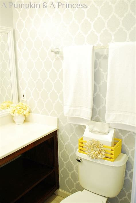 grey wallpaper for bathroom another yellow and grey room i m digging this one uses