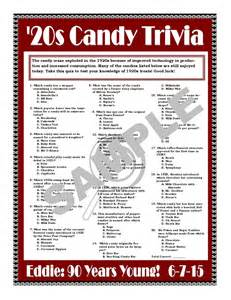 1920s candy trivia printable gamepersonalize for birthdays