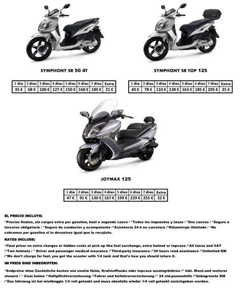 Motorrad Versicherung Spanien by Mallorca Ferienwohnung Info Roller Motorradmiete