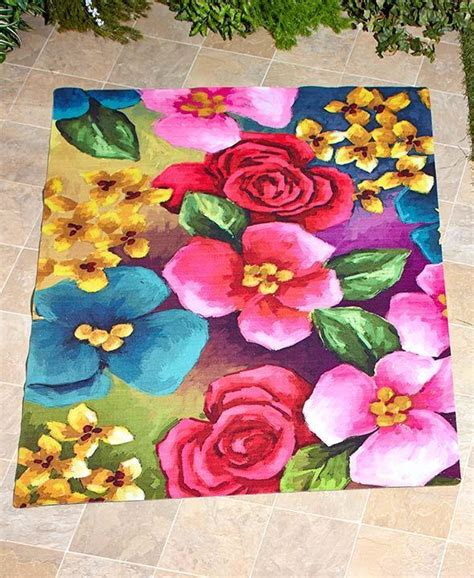 flower design rugs easy drainage floral design outdoor area runner or accent