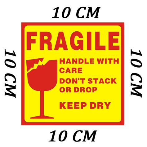 high quality 10 10cm 500pcs packaging stickers fragile stickers label for care handle label