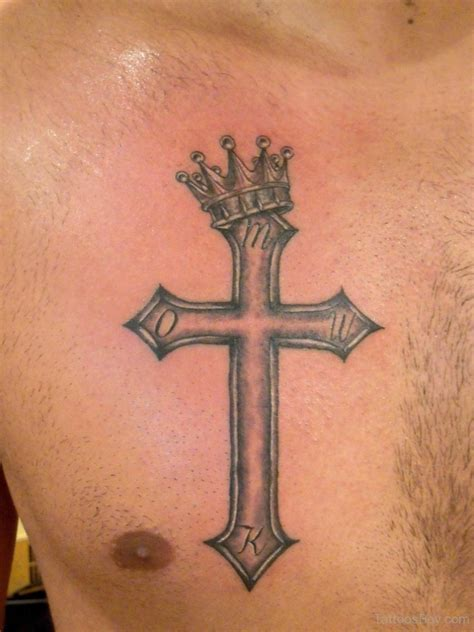 cross with wings tattoo on chest crown tattoos designs pictures page 12