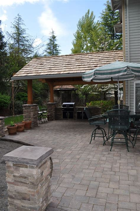 covered patio idea with built in grill pits patio