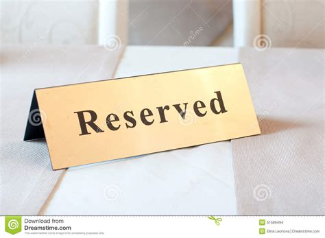 This Room Is Reserved Sign by Reserved Sign Reservation On Table Gold Color Stock