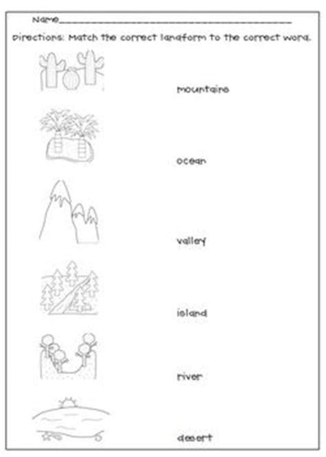 Landform Worksheet by Landforms Matching Worksheet By L M N O Pink Tpt
