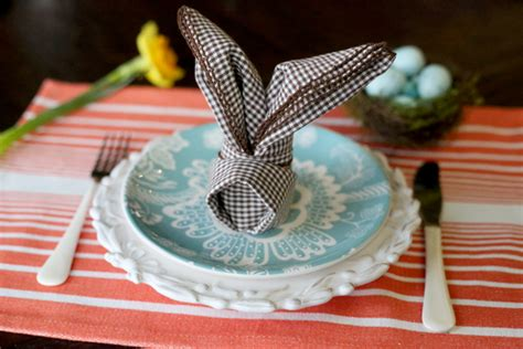 Easter Paper Napkin Folding - how to fold bunny napkins our best bites