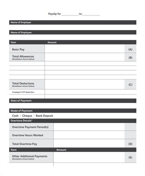 Payslip Templates by Sle Payslip Templates 8 Free Documents In