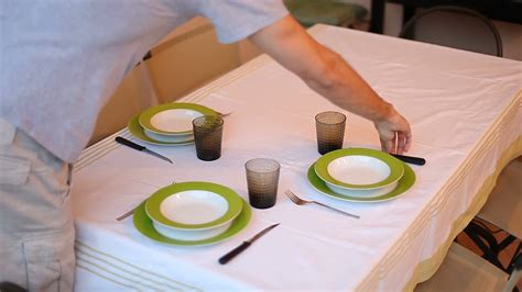 setting the table for a setting the table for dinner stock footage