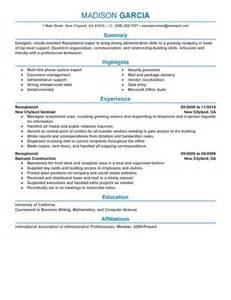 Exles Of Resumes For Receptionist by Best Receptionist Resume Exle Livecareer