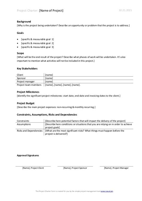charter school template project charter template