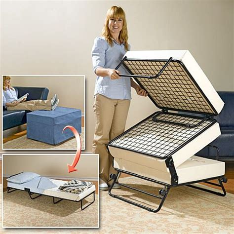 fold up bed into ottoman an ottoman that turns into a guest bed that is awesome