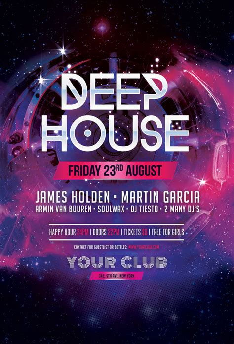 free deep house party flyer template by stylewish on