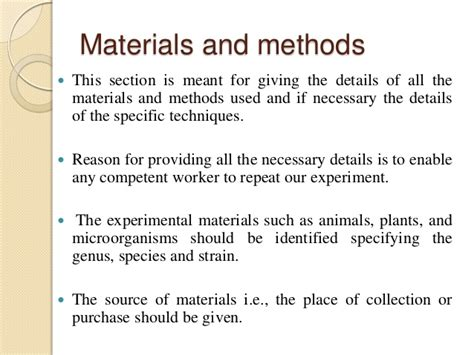 materials and methods section how to write a good research paper