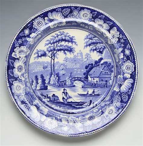 ANTIQUE STAFFORDSHIRE WILD ROSE BLUE & WHITE PLATE c.1830 Diameter 21,25cm Excellent orig