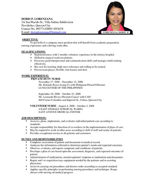 Resume Sample Nurse Philippines by Registered Nurse Resume Sample Philippines