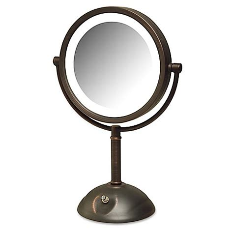 jerdon lighted magnifying mirror jerdon 174 8x led tabletop mirror in bronze bed bath beyond