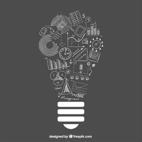 doodle of light lightbulb idea with doodle business icons vector free
