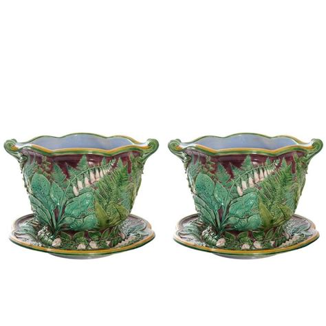 Cache Pots And Planters minton majolica cache pots and saucers at 1stdibs