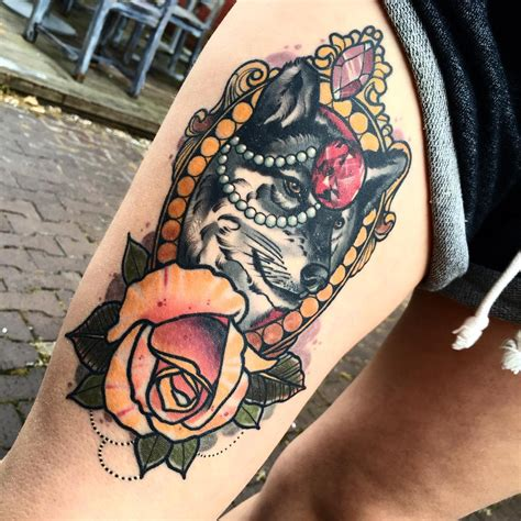 wolf with rose tattoo neo traditional tattoos best ideas gallery part 2