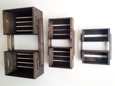 sale set of 3 brown wooden crate wall hanging shelf units