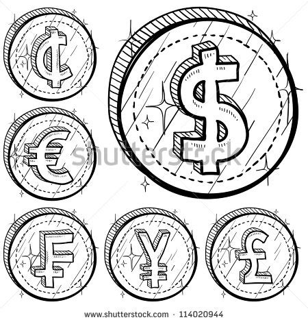 doodle coins doodle style international currency symbol coins set