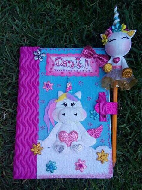 cuadernos decorados de unicornio con foami cuaderno unicornio fofucha pinterest unicornio