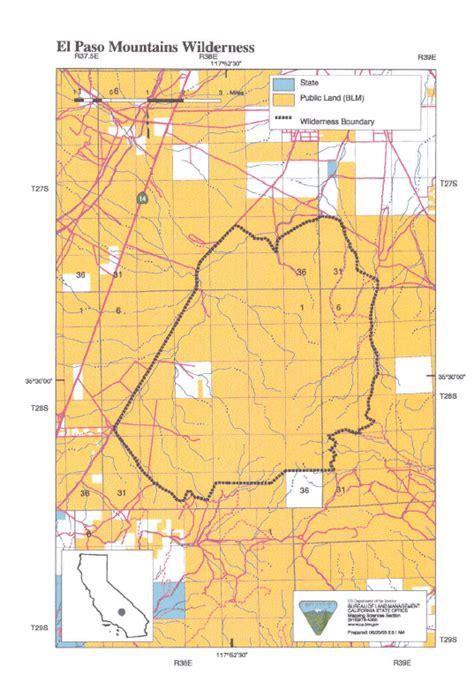 el paso map map of el paso mountains wilderness area