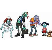 Four Cartoon Zombies Vector Illustration With Simple