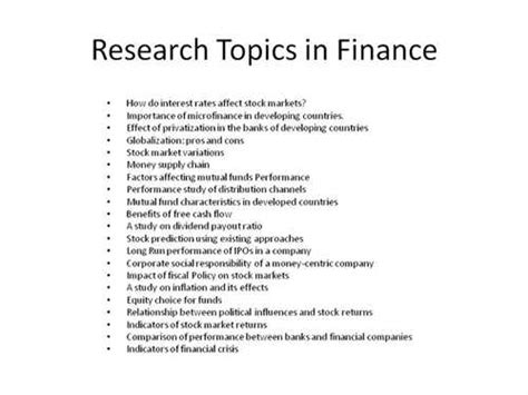 Specific Topic Research Papers by Finance Research Paper Topics With Pictures Ehow