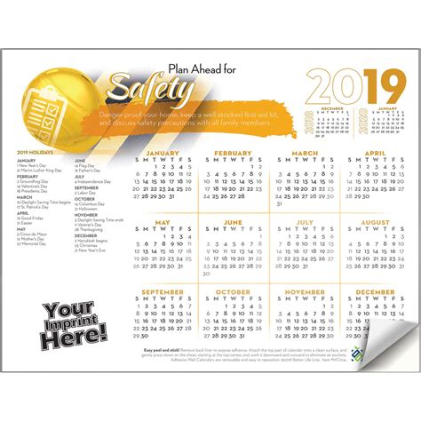 Adhesive Wall Calendar - adhesive wall calendar 2019 plan ahead for safety